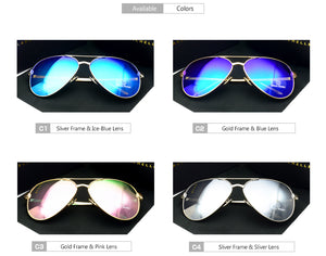 Quality Women's Pilot Polarized Mirror Sunglasses, UV400, 4 Shades, with the Original Box, (Free Shipping)