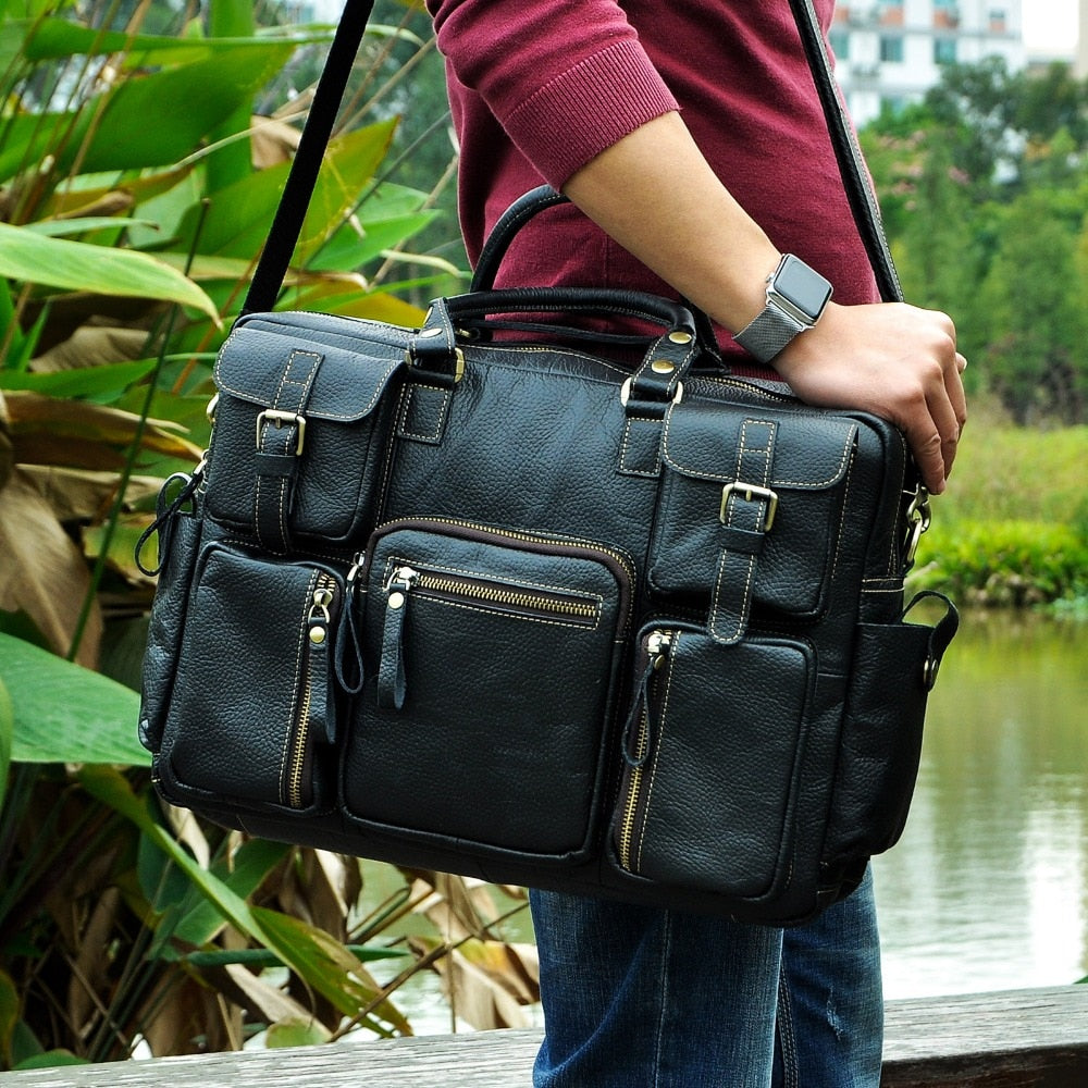 Large Capacity Cow Hide Leather Antique Travel Briefcase Business Laptop Attache Case  (Free Shipping)