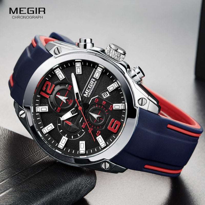 Men's Chronograph Analog Quartz Watch with Date, Luminous Hands, Waterproof (Free Shipping)