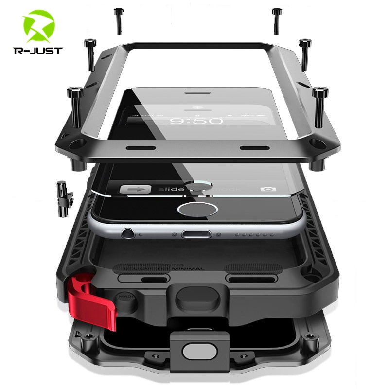 Heavy Duty Protection Aluminum Case for iPhone 6, 6S, 7, 8 Plus, X 4, 4S, 5S, SE, 5C, Shockproof  (Free Shipping)