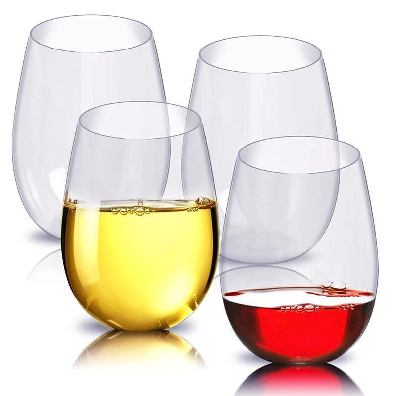 4 Set Plastic Glasses, Red & White Wine, Juice, Beer, Transparent Reusable Tumblers, (Free Shipping)