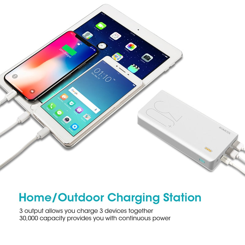 30000mAh Sense 8+ Fast Charging Power Bank External Battery QC Two-way For Phone (Free Shipping)
