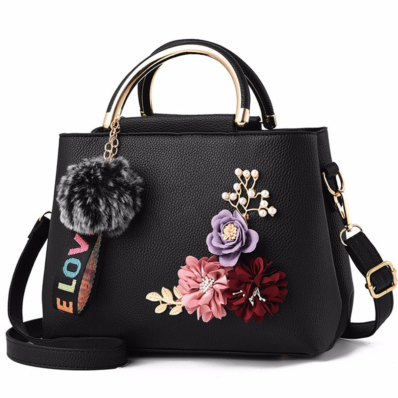 Women's Leather Handbag, Shoulder Tote with Flowers Shell Sac Fur Ball Pendant Design   (Free Shipping)
