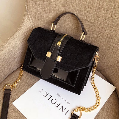 Women's Crossbody Bag, Zipper Decoration Chain Handbag, Patent leather, Shoulder Bag (Free Shipping)