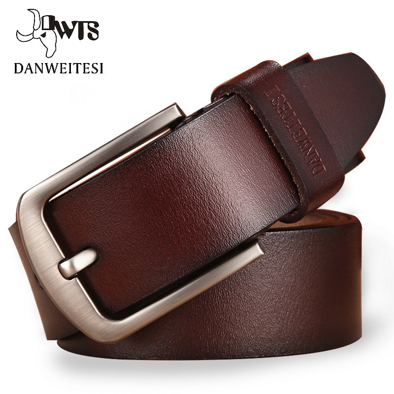 Man's Genuine Leather Belt Luxury Pin Buckle, Fancy Vintage Jeans Wear for Men   (Free Shipping)
