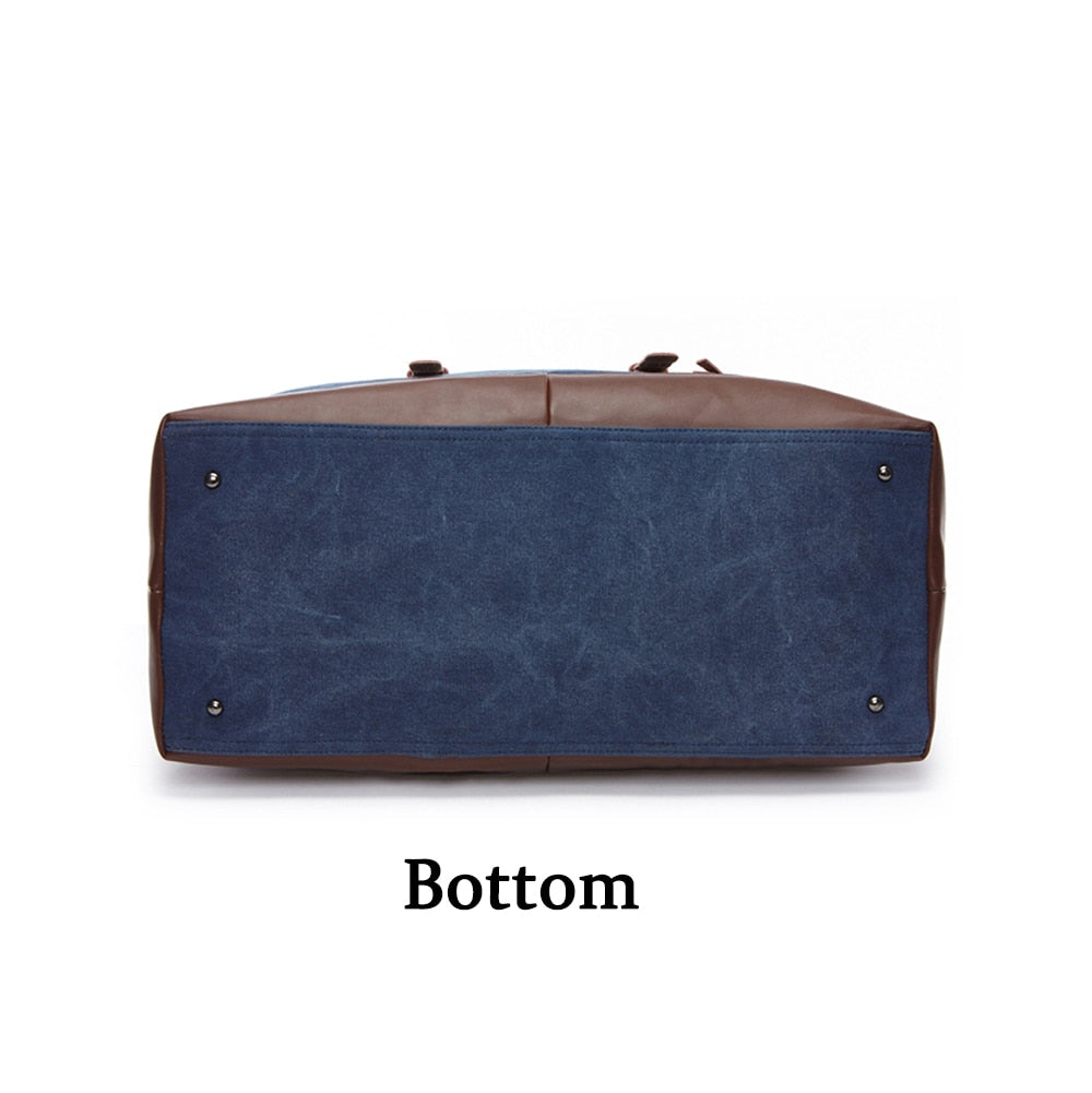 High Class Canvas Leather Unisex Travel Bag Carry on Luggage Duffle Overnight Bag (Free Shipping)