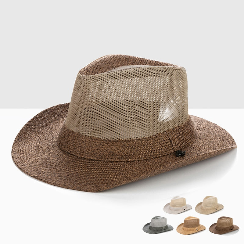 Outdoor Sun Hat Wide Brim Men's Summer Leisure Straw Raffia Breathable Sunshade  (Free Shipping)