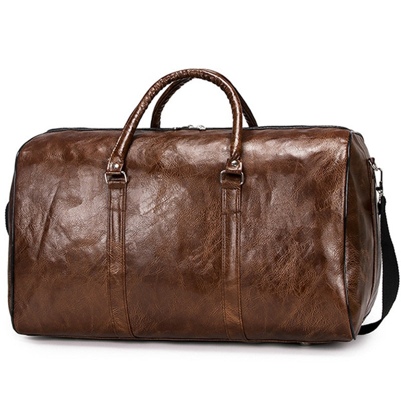 Unisex Leather Luxury Travel Bag Large Capacity Portable Shoulder Vintage Travel Bag (Free Shipping)