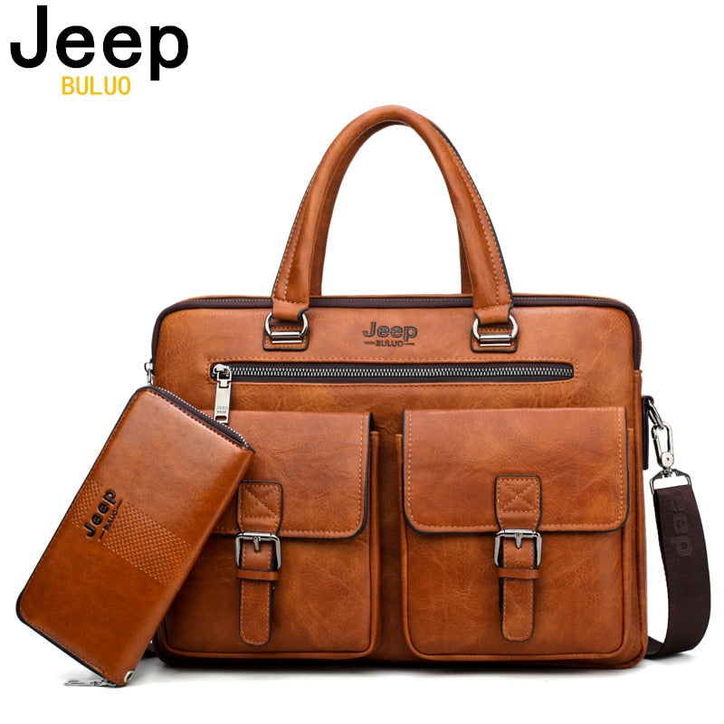 Unisex Business Bag For 13'3 inch Laptop Briefcase Bag 2 in 1 Set Handbag Leather Unisex  (Free Shipping)