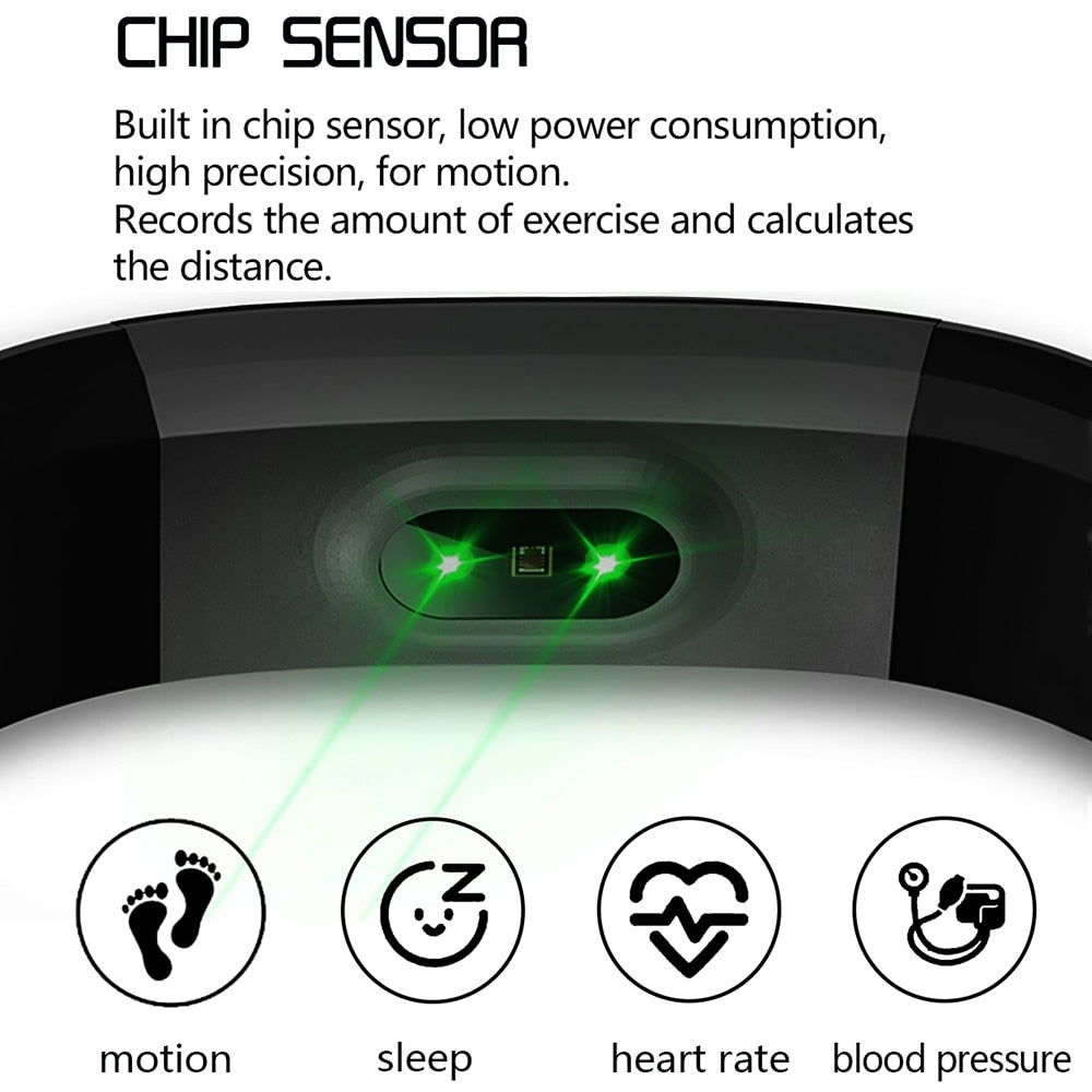 Smart Fitness Tracker, Watch your Health, Heart Rate & Blood Pressure.  Waterproof Smart  (Free Shipping)