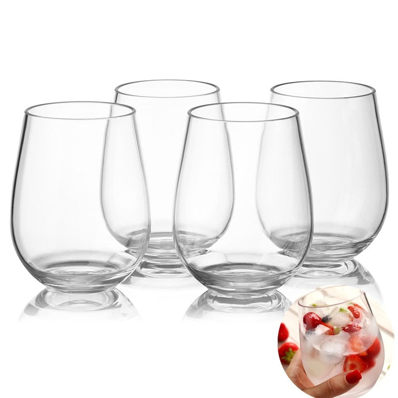 1pc Unbreakable PCTG Red Wine Glass Transparent Fruit Juice Beer Cup Shatterproof Plastic Glass Drink Cups with  (Free Shipping)
