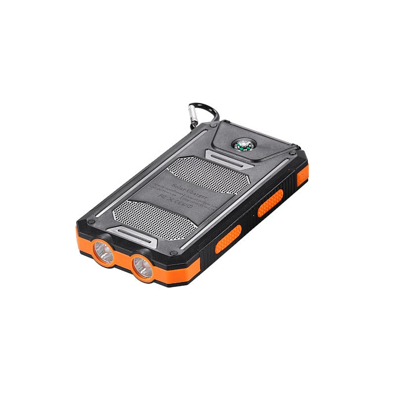 30000mAh DIY Solar Waterproof Smart Phone Charging Powerbank Two LED Lights  (Free Shipping)