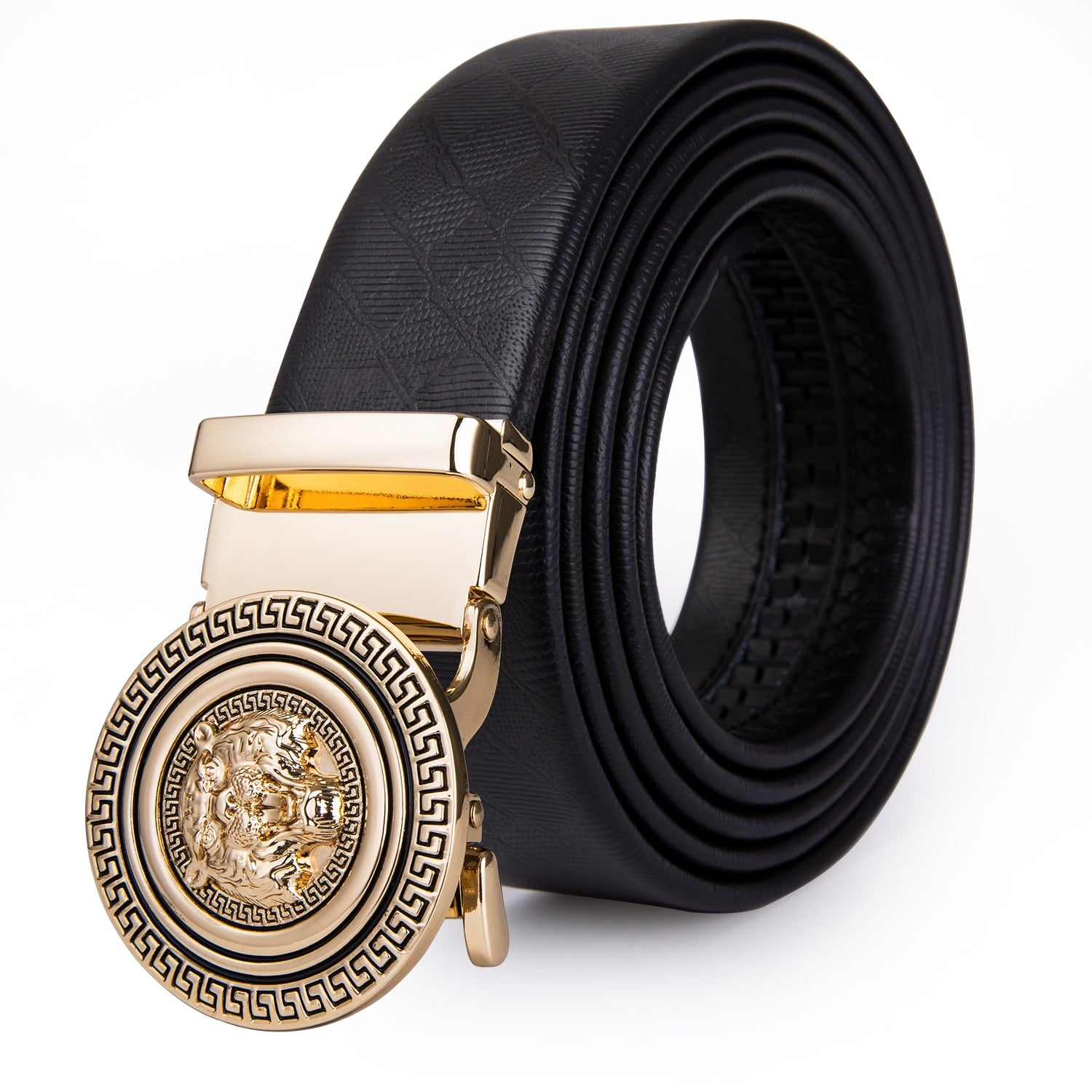 Boxed Men's Genuine High Quality Cowhide Leather Belt, Automatic with Gold Buckle,  (Free Shipping)