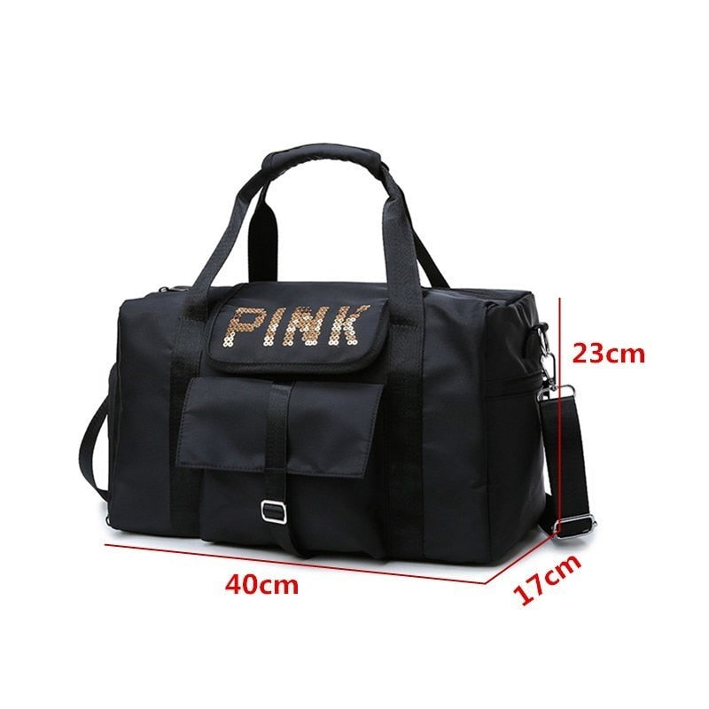 Large-capacity Unisex Travel Bag Clothes Bag Soft Sequin Shoulder Bag Pink Decoration (Free Shipping)