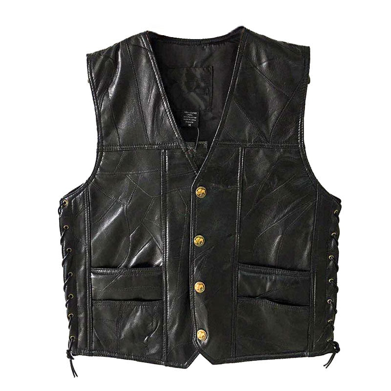 Leather PU Vests Men's Sleeveless Jacket Streetwear, Black Motorcycle Waistcoat  (Free Shipping)