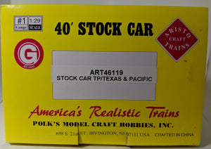 Aristo-Craft 46119 Texas & Pacific Steel Cattle Car