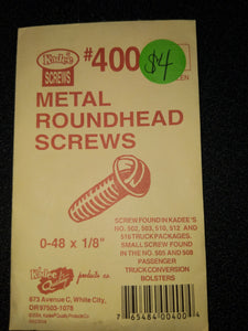 Kadee 400 Self-Tapping Screws 0-48 x 1/8in