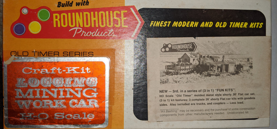 Roundhouse 1502 3-in-1 Kit Old Timer Metal Shorty 26' Flat Cars HO-scale