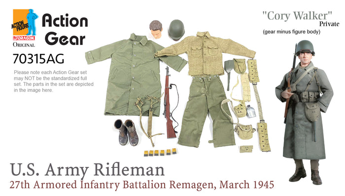 "1/6 Dragon Original Action Gear for ""Cory Walker"" Private, U.S. Army Rifleman, 27th Armored Infantry Battalion, Remagen, March 1945"