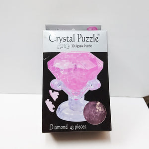 Crystal Puzzle 3D Jigsaw Puzzle - Diamond (Pink, 43 pieces)