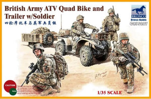 1/35 British Army ATV Quad Bike and Trailer w/Soldier