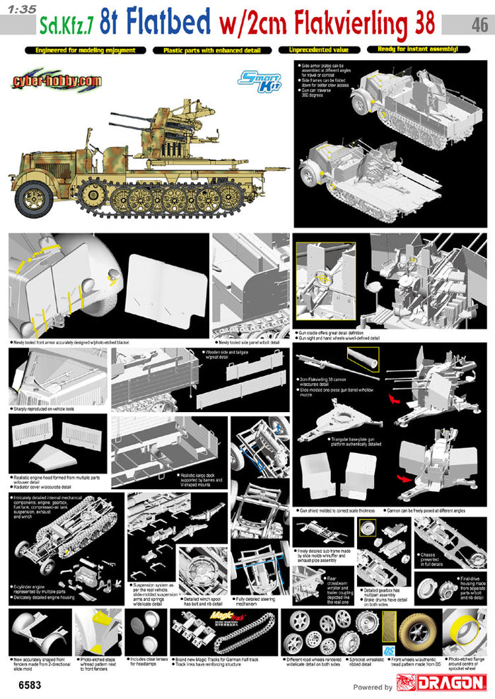 Cyber Hobby Exclusive DR06583 - 1/35 Sd. Kfz.7 8t Flatbed w/2cm Flakvierling 38