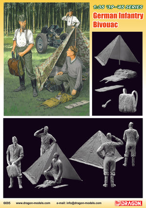 1/35 German Infantry Bivouac (3 Figures Set with Zeltbahn)