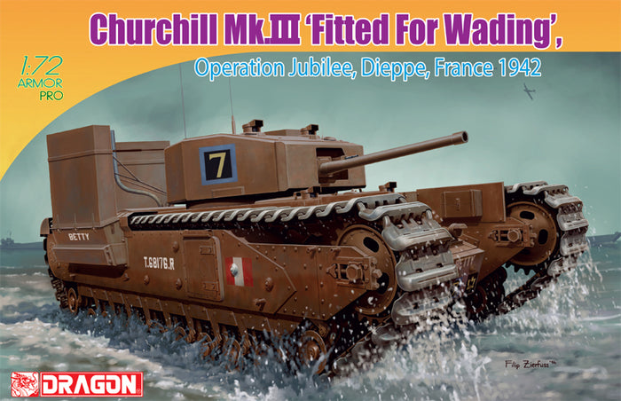 "1/72 Churchill Mk.III ""Fitted For Wading"" Operation Jubilee, Dieppe France 1942"