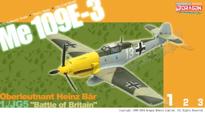 "1/72 Me109E-3, Oberleutnant Heinz Bär, 1./JG 51, ""Battle of Britain"""