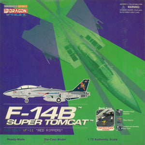 "1/72 F-14B Super Tomcat, U.S. Navy VF-11 ""Red Rippers"" w/Flight Deck & Deck Crew"