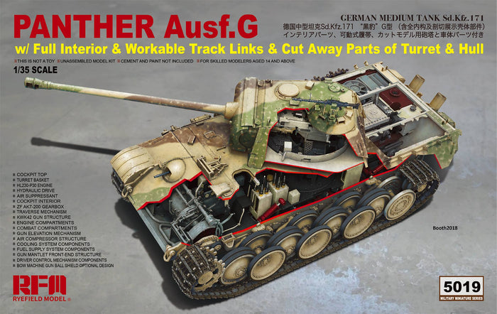 1/35 Panther Ausf.G (with Full Interior & Workable Track Links & Cut Away Parts of Turret & Hull)