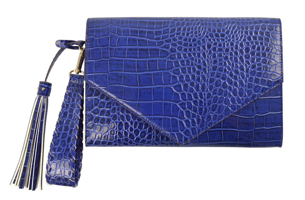 Embossed Clutch- Blue