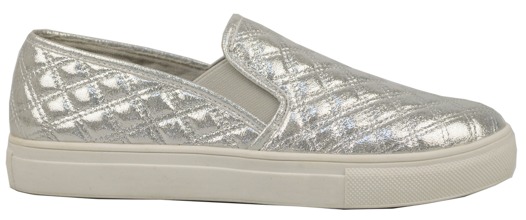 Quilted Sneaker Slide Silver