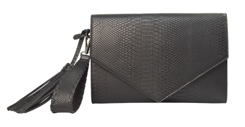 Embossed Clutch- Black