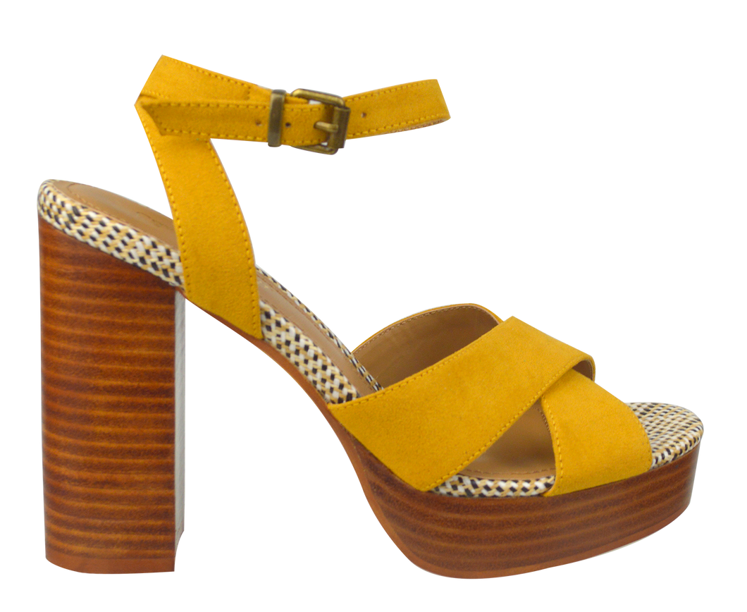 Tall Ankle Strap Heel- Mustard