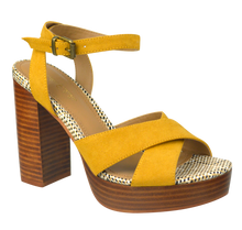 Load image into Gallery viewer, Tall Ankle Strap Heel- Mustard