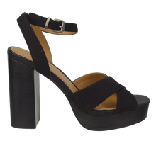 Load image into Gallery viewer, Tall Ankle Strap Heel- Black