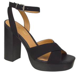 Tall Ankle Strap Heel- Black