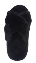 Load image into Gallery viewer, Furry Slipper Thong- Black
