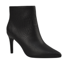 Load image into Gallery viewer, Black Python Heeled Bootie