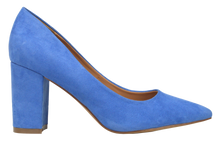 Load image into Gallery viewer, Suede Block Heel- Blue