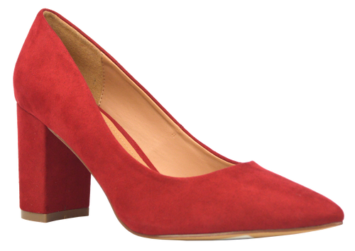 Suede Block Heel- Red