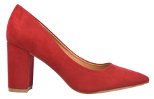 Load image into Gallery viewer, Suede Block Heel- Red