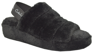 Furry Slipper with Strap- Black