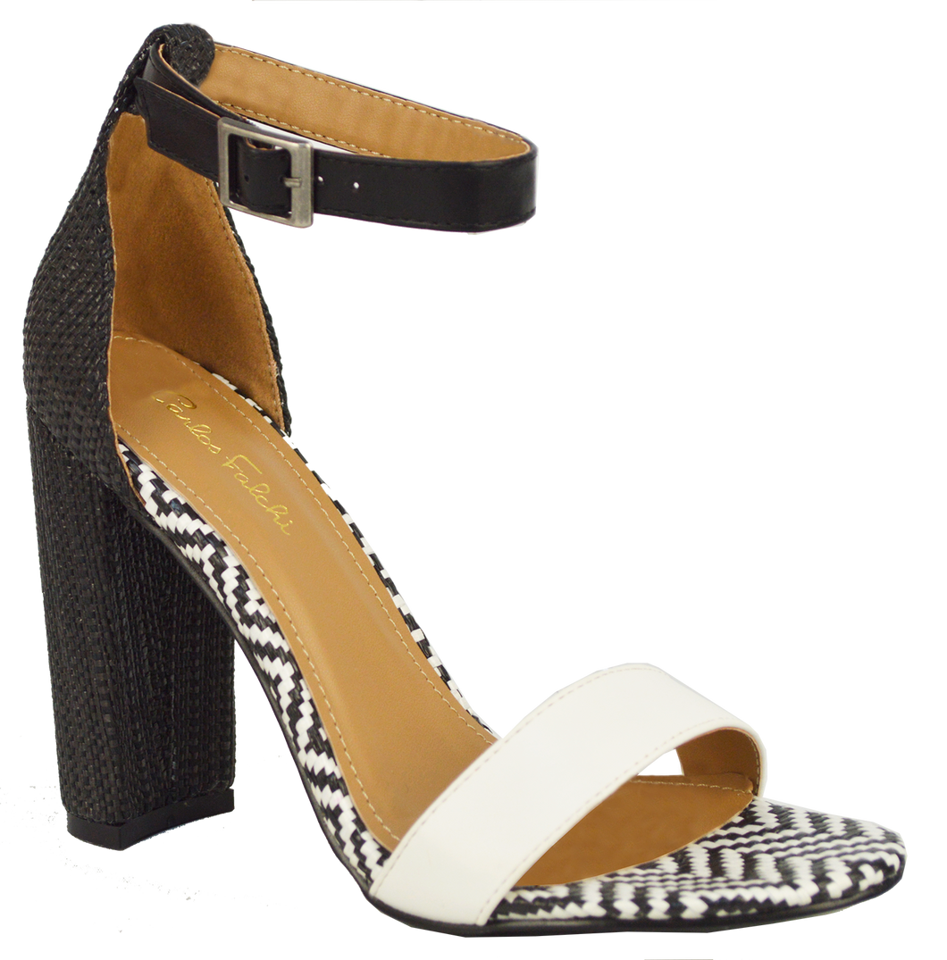 Ankle Strap Sandal- Black and White
