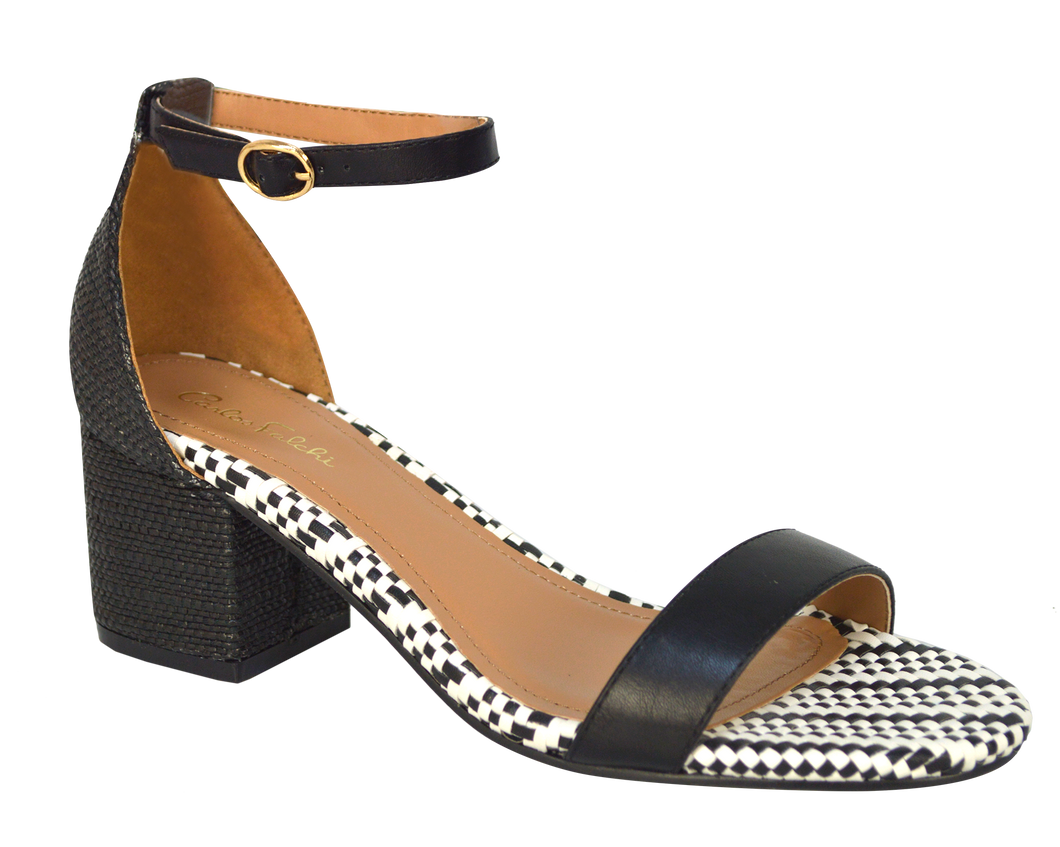 Ankle Strap Sandal, Low- Black and White