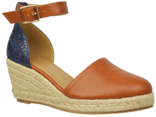 Load image into Gallery viewer, Ankle Strap Espadrille- Blue and Brown