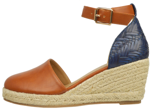 Ankle Strap Espadrille- Blue and Brown