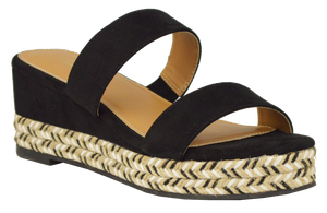 Woven Bottom Sandal- Black