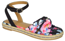 Load image into Gallery viewer, Ankle Strap Floral Sandal - Black